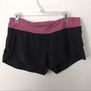 Lululemon Speed Up Shorts Sz 10 Black Pink